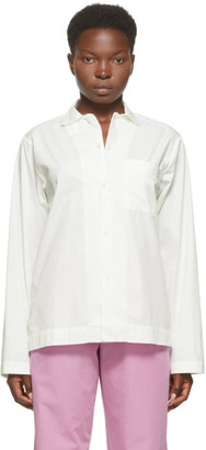 Tekla White Striped Pyjama Shirt