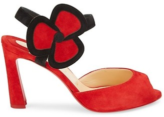 Christian Louboutin Pansy Peep-Toe Suede Sandals