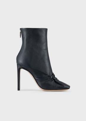 Giorgio Armani Calfskin Leather Ankle Boots With Knot