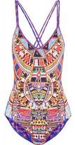 Camilla Crystal-Embellished Printed Swimsuit