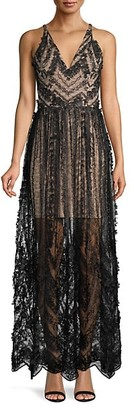 Dress the Population Chelsea Embellished Lace Flare Dress