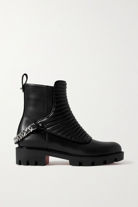 Christian Louboutin Maddic Max Chain-embellished Quilted Leather Ankle Boots - Black