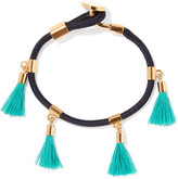 Chloé Gold-tone And Tasseled Cotton Bracelet - Turquoise