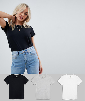 Asos DESIGN Petite ultimate t-shirt with crew neck in 3 pack SAVE-Multi