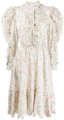 Horror Vacui floral flared midi dress