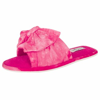 Jessica Simpson Womens Plush Open Toe Slide On House Slipper with Bow (Size Small
