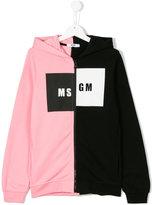 MSGM Teen dual colour logo hoodie