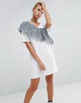 Asos T-Shirt Dress with Woven Gingham Frill Detail