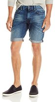 DKNY Men's Bleecker Fit Denim Short-Lunar Medium Indigo Wash