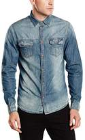 Solid !Solid Men's Slim Fit Long Sleeve Leisure Shirt - Blue -