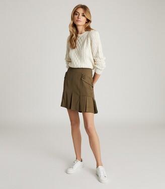 Reiss Mina - Pleated Mini Skirt in Khaki