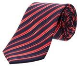 Saint Laurent Red & Navy Diagonal Stripe Silk Tie.