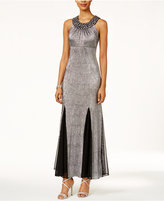 R & M Richards Petite Beaded Metallic Pleated Gown