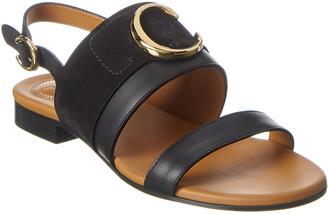 Chloé C Plaque Leather & Suede Sandal