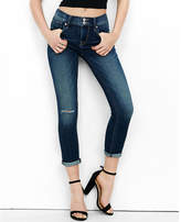 Express distressed mid rise cuffed cropped jean legging