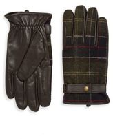 Barbour Plaid Snap Leather Gloves