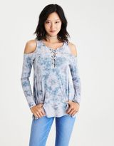 American Eagle Outfitters AE Soft & Sexy Lace-Up Cold Shoulder T-Shirt