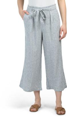 Linen Paper Bag Tie Waist Crop Pants