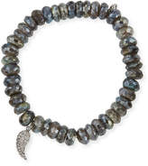 Sydney Evan 8mm Faceted Round Labradorite Beaded Bracelet with Diamond Wing Charm
