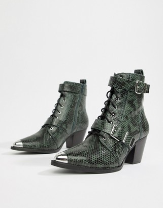 Asos Design DESIGN Rhythmic premium leather western lace up boots in snake