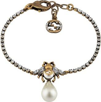 Gucci Pearl-Detail Bee Bracelet
