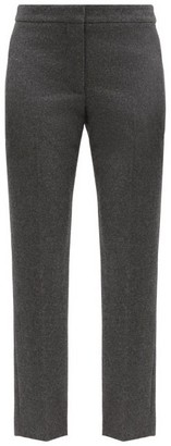 Alexander McQueen Straight-leg Cropped Wool-flannel Trousers - Grey