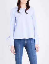 Mo&Co. Striped cotton-poplin blouse