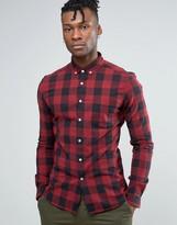 Asos Super Skinny Shirt In Buffalo Plaid In Burgundy