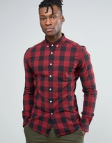 Asos Super Skinny Shirt With Buffalo Plaid In Burgundy With Long Sleeves