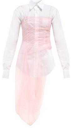 Prada Gathered Tulle Bustier Cotton-poplin Shirt - White Multi