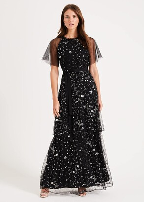 Phase Eight Fleurette Sequin Tiered Maxi Dress