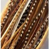 "SEXY SPARKLES 7""-10"" Grizzly Ginger Mix Long Thin Feathers for Hair Extension 7 Feathers"