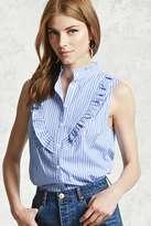 Forever 21 FOREVER 21+ Stripe Ruffled Mandarin Shirt