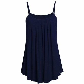 MRULIC Women's Summer Sexy Loose Camisole Solid Color Casual Daily Party Beach Holiday Tank Tops Plus Size S~ 6Xl(Navy Blue Uk-22/Cn-4Xl)
