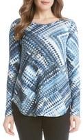 Karen Kane Women's Blue Diamond Print Long Sleeve Tee