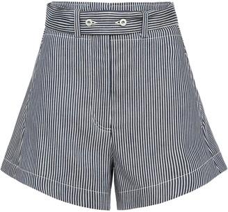 Cédric Charlier Striped Denim Shorts