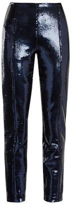 Diane von Furstenberg Skinny Sequin-embellished Trousers - Womens - Navy