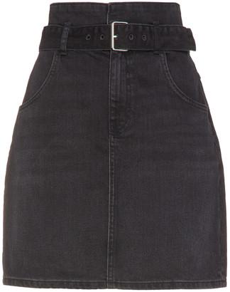 BA&SH Ellie Belted Denim Mini Skirt