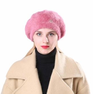 Hevoiok Women's Hats Hevoiok Women Winter Warm Beanie Hat Casual Fashion Crown Pure Color Thicken Velvet Warm Soft Hats Ladies Angora Berets (Purple)