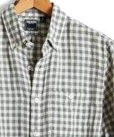 Todd Snyder Slim Fit Check Linen Button Down Shirt in Green