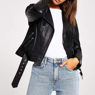 River Island Womens Black leather belted biker jacket
