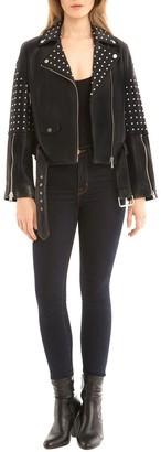 Bagatelle Women's Leather Studded Biker Jacket
