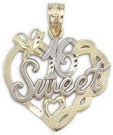JCPenney FINE JEWELRY 14K Two-Tone Gold Sweet 16 Pendant