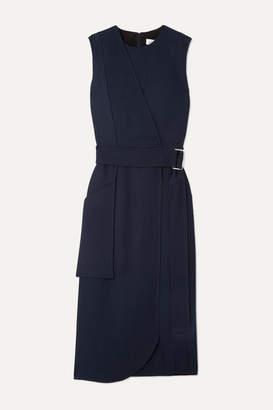 Victoria Beckham Belted Crepe Midi Dress - Navy