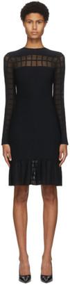 Alexander McQueen Black Check Sleeves Mini Dress
