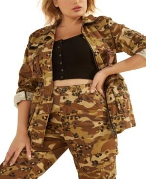 GUESS Kammie Camo-Print Cargo Jacket
