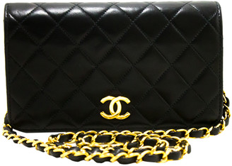 Chanel Black Lambskin Quilted Leather Clutch Chain Shoulder Bag