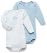 Petit Bateau Pack of 2 baby boy long-sleeve plain/milleraies striped bodysuits