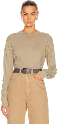 John Elliott Jersey Long Sleeve Cropped Tee in Sand | FWRD