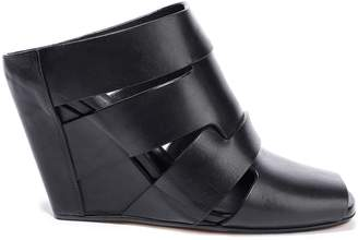 Rick Owens Lazarus Cutout Leather Wedge Mules